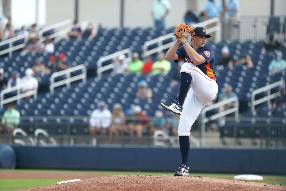 Houston Astros starting pitcher Brandon Bielak (64) pitches during the first inning of an MLB spring training game at Ballpark of the Palm Beaches in West Palm Beach, Florida, Sunday, February 28, 2021.