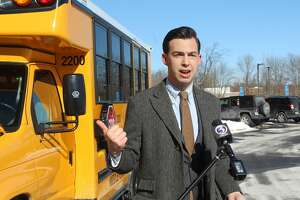 Middletown Mayor Ben Florsheim, Superintendent of Schools Michael Conner, DEEPj, League of Women Voters all attended the unveiling of a$300,000 electric bus purchased through Volkswagen settlement funds at Middletown High School Monday. Middlesex County Chamber of Commerce President Larry McHugh