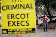 About 50 people gather Sunday afternoon outside ERCOT's campus in suburban Austin, demanding the nonprofit take responsibility for the disastrous failure that plunged millions into darkness without heat or water.