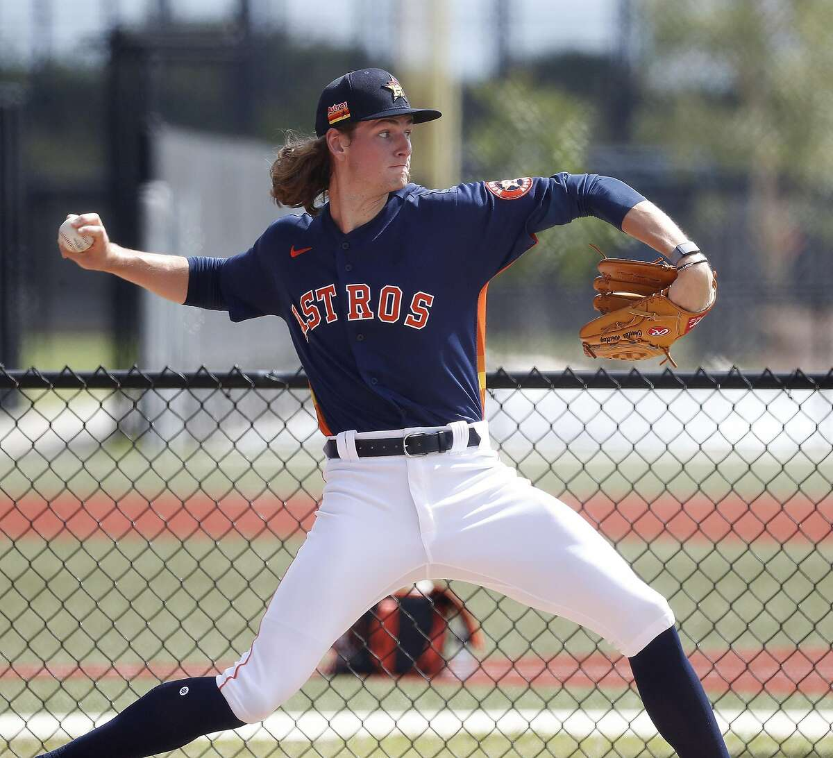 Houston Astros pitcher Forrest Whitley (61) during spring training workouts for the Astros at Ballpark of the Palm Beaches in West Palm Beach, Florida, Saturday, February 27, 2021.