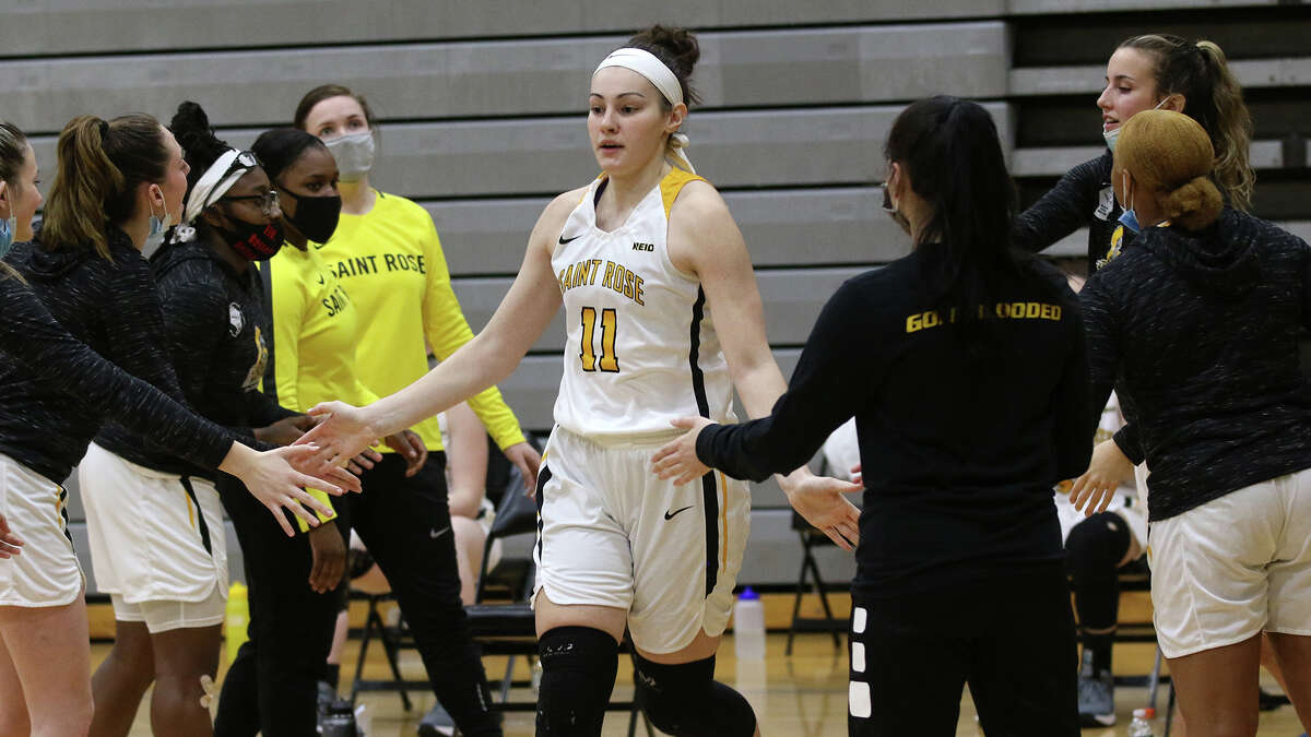 Saint Rose senior forward Nina Fedullo of Amsterdam is introduced before the start of a game against American International on Tuesday, Feb. 23, 2021 at Daniel P. Nolan Gymnasium in Albany.