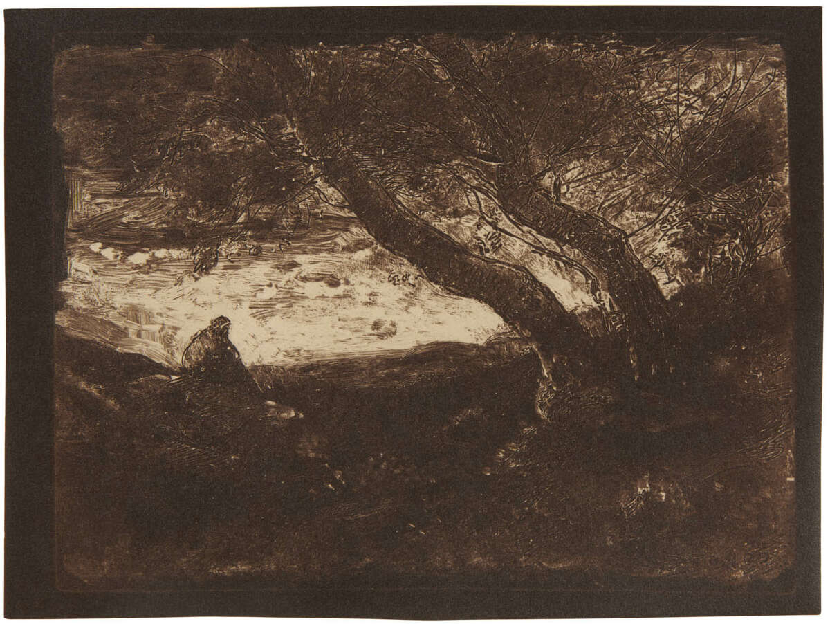 Camille Corot, The Dreamer (Le Songeur), 1854, printed 1921. Cliché-verre, gelatin printing-out print (courtesy: Clark Institute)