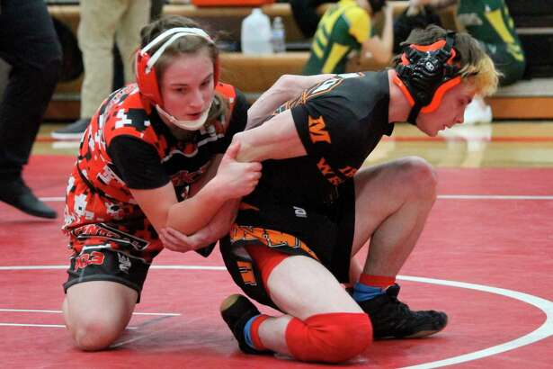 Cambrie Lawrence wrestles for the Huskies during a home quad on Feb. 17. (Record Patriot file photo)