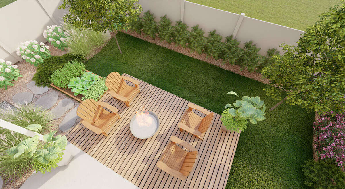 A playful and relaxing backyard design created by Tilly Design.