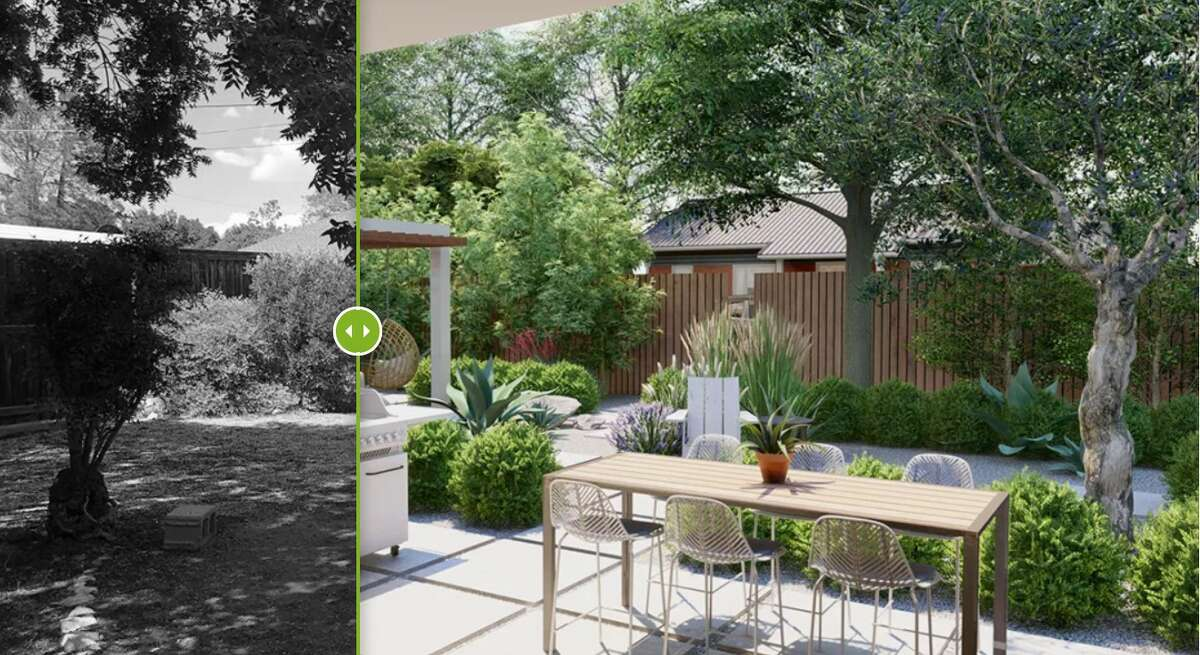 Before and after view of a drought-tolerant backyard landscape design in West Texas created by Home Outside.