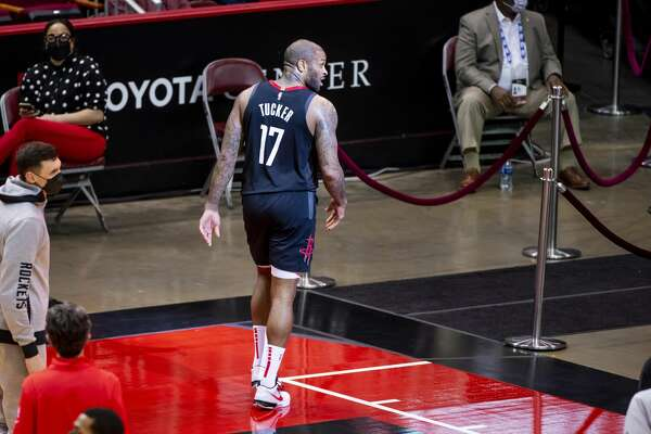 Houston Rockets forward P.J. Tucker (17) walks off of the court at the end of the second quarter of an NBA basketball game between the Houston Rockets and Memphis Grizzlies on Sunday, Feb. 28, 2021, at Toyota Center in Houston.