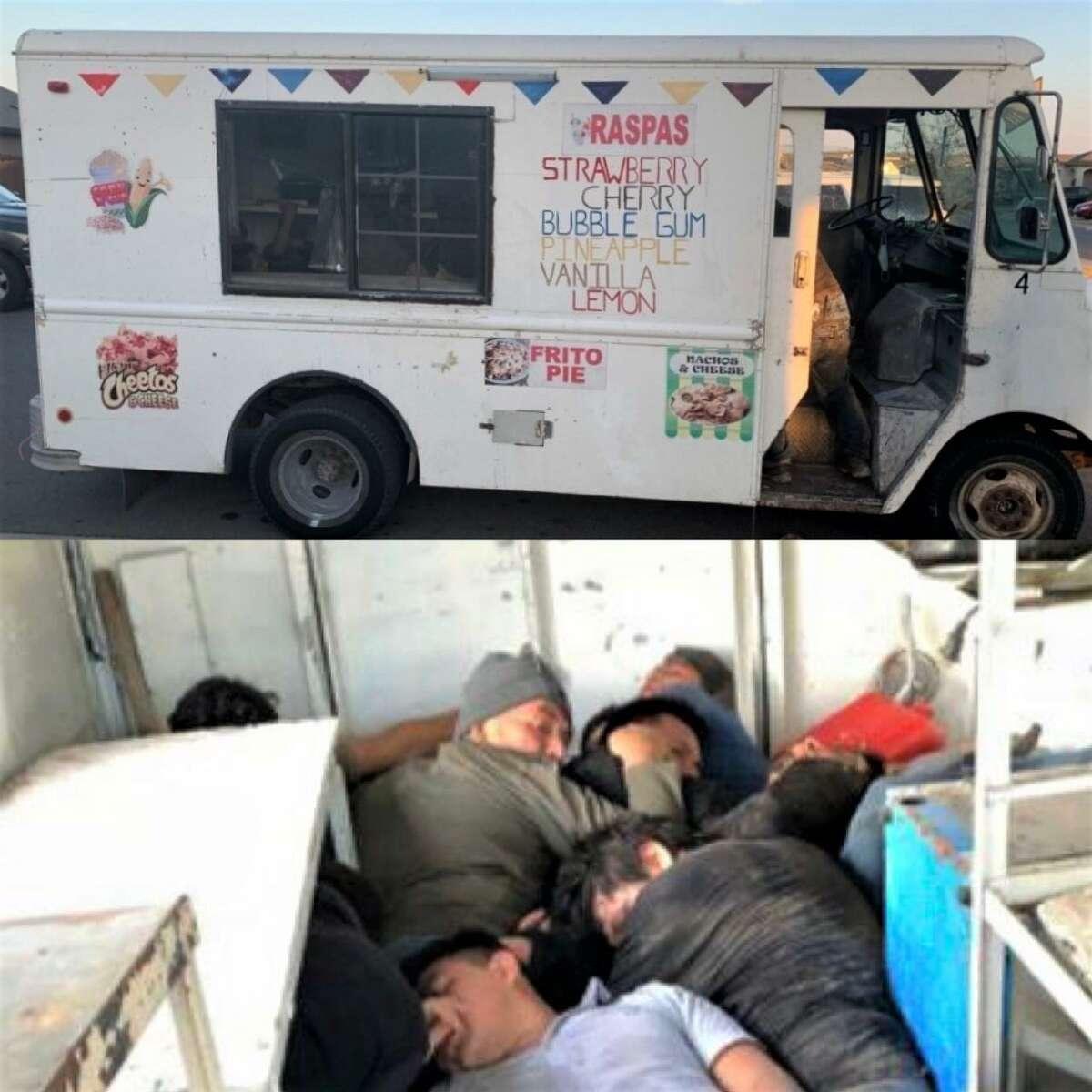 Un camión de helados estuvo involucrado en un intento de tráfico humano que los agentes de la Patrulla Fronteriza junto con el Departamento de Policía de Laredo y el Departamento de Seguridad Pública lograron frustar al sur de Laredo el 24 de febrero de 2021.