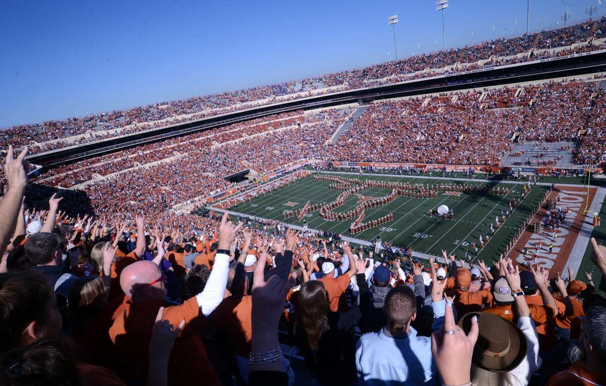 A view from the stands prior to start of the game featuring the Texas Longhorns against the Kansas State Wildcats on November 9, 2019 at Darrell K Royal-Texas Memorial Stadium in Austin, Texas.