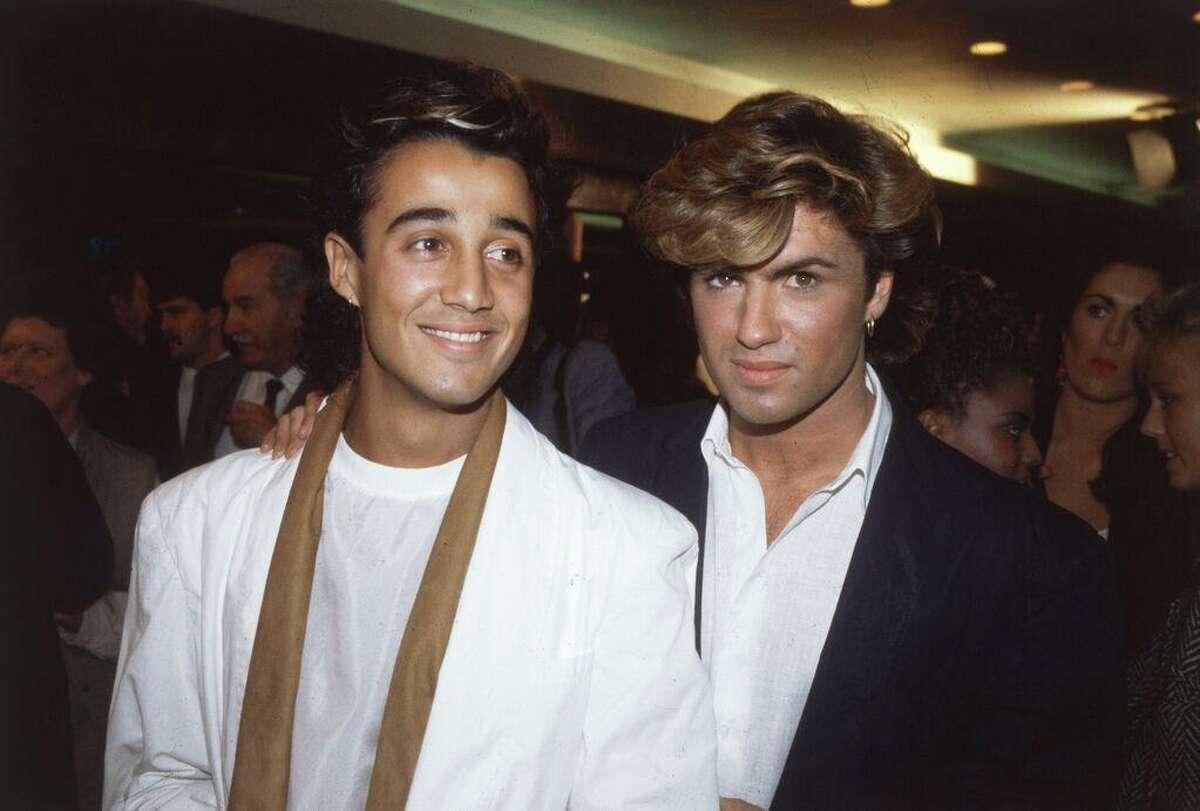 English pop stars Andrew Ridgeley and George Michael of Wham!