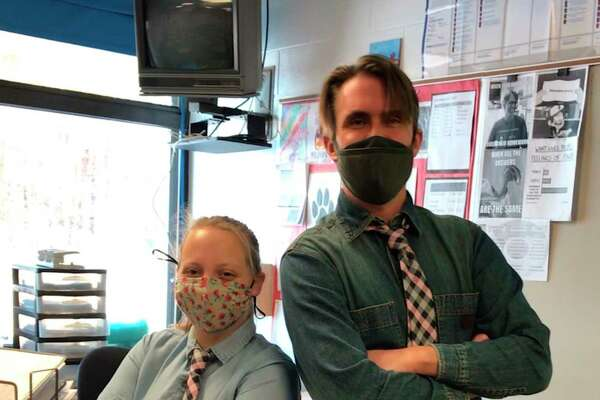 Students at Benzie Central High School dressed like their teachers on Teacher Tuesday during Snowcoming week. (Courtesy Photo)