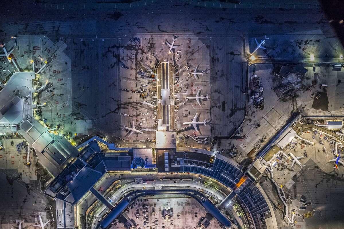An aerial view of the International Terminal at San Francisco International Airport.