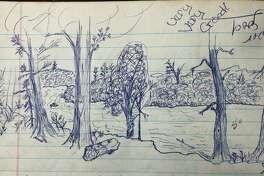 A 1973 landscape drawing contributed to the Mirror Lake Eight-bunk Cabin logbook at Porcupine Mountains Wilderness State Park is shown. (Courtesy photo/Michigan Department of Natural Resources)