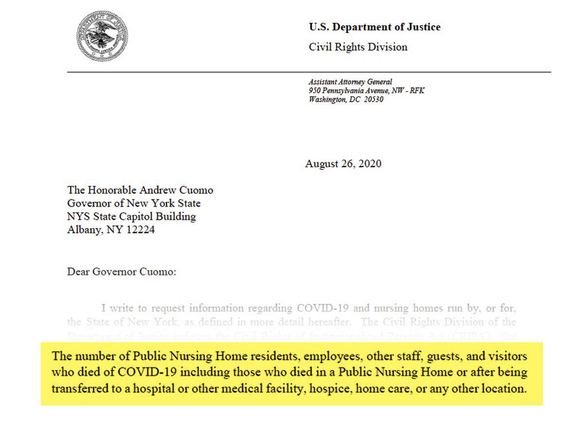 """The U.S. Department of Justice's Civil Rights Division sends letters to multiple governors, including Cuomo, seeking data, policies and directives regarding the states' nursing homes' pandemic response. The request includes something the state had delayed providing for months - the number of """"those who died in a public nursing home or after being transferred to a hospital or other medical facility."""""""