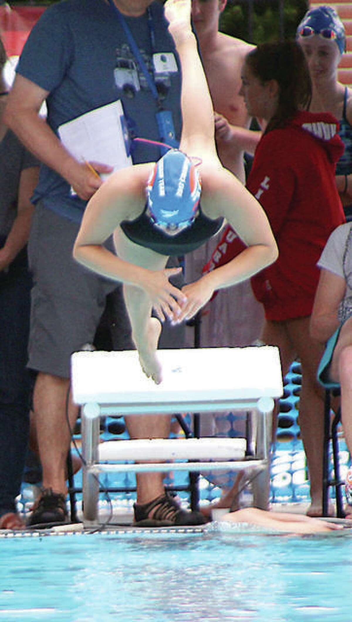 Truman State's Ginny Schranck of Alton is among NCAA Division II swimmers waiting to see if she has earned an invitation to the national championship meet, set for March 17-20 in Birmingham, Ala. She is shown during club competition for the Edwardsville Breakers.