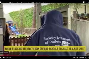 "A screengrab from the 45-second clip, titled: ""Hypocrisy: Matt Meyer Berkeley Federation of Teachers President."""