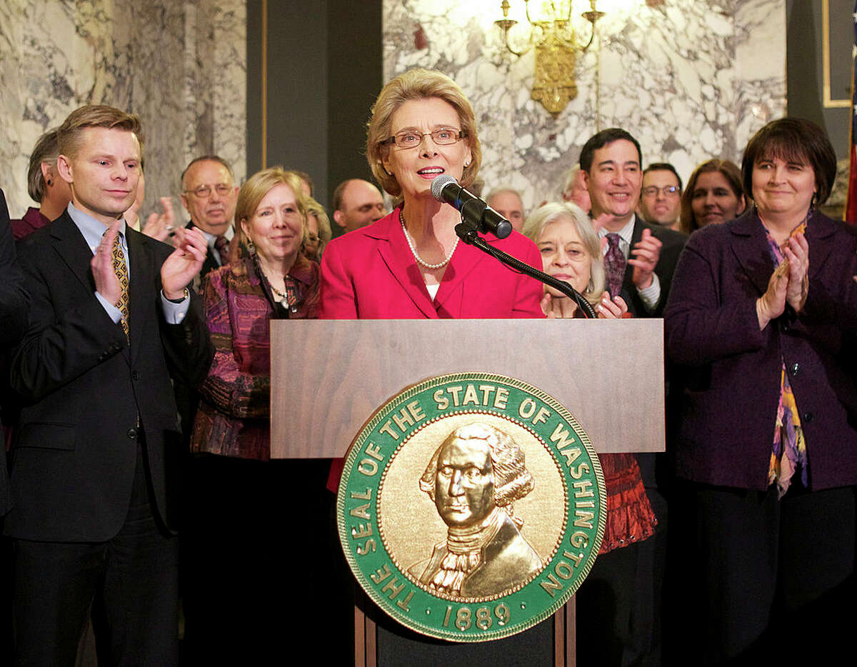 Washington State Governor Chris Gregoire speaks before signing marriage equality legislation February 13, 2012 at the state capitol in Olympia, Washington.
