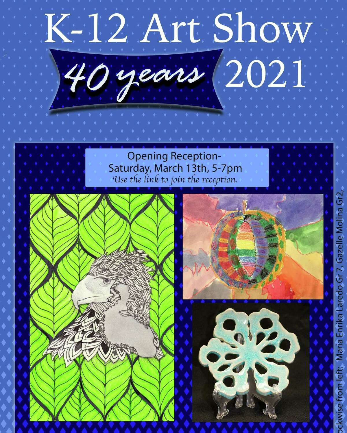 Middletown Public Schools will host its 40th annual K-12 art show with a virtual reception March 13 from 5 to 7 p.m.
