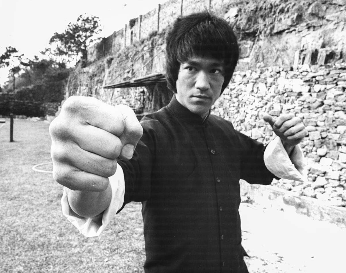 Actor and martial artist Bruce Lee rehearsing, on the set of the film 'Enter the Dragon', Hong Kong, circa 1973.