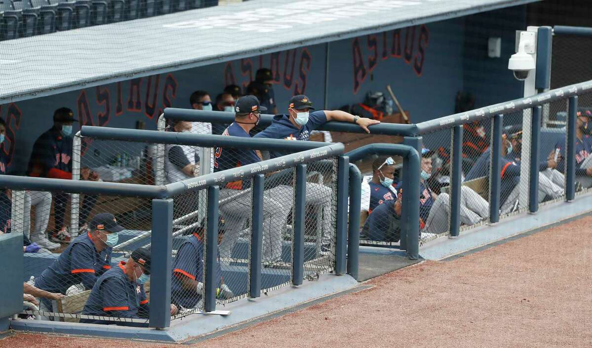 The Houston Astros dugout during the first inning of an MLB spring training game at Ballpark of the Palm Beaches in West Palm Beach, Florida, Monday, March 1, 2021.