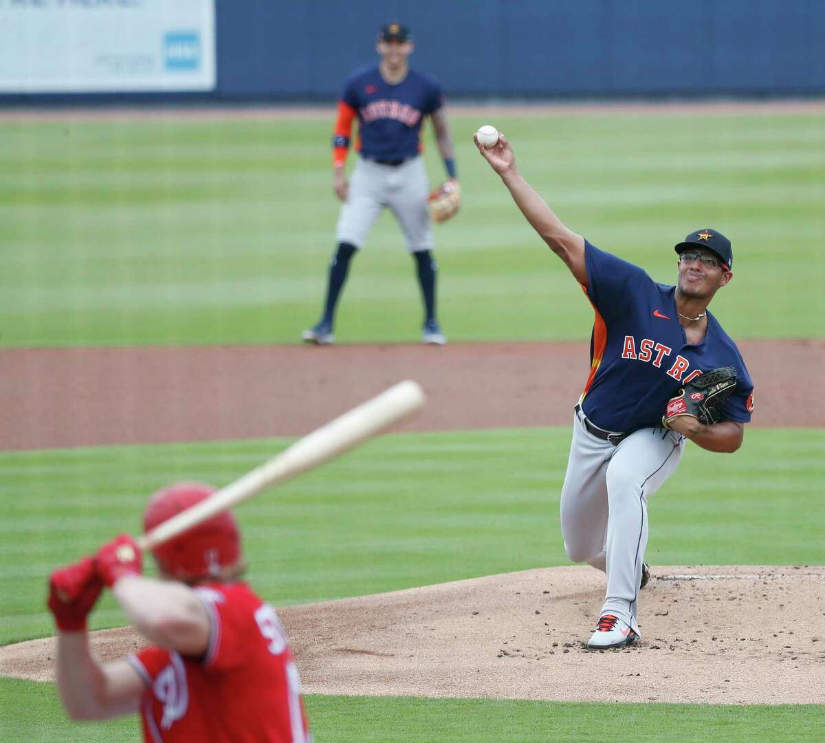Houston Astros starting pitcher Nivaldo Rodriguez (68) faces Washington Nationals Andrew Stevenson (17) during the first inning of an MLB spring training game at Ballpark of the Palm Beaches in West Palm Beach, Florida, Monday, March 1, 2021.