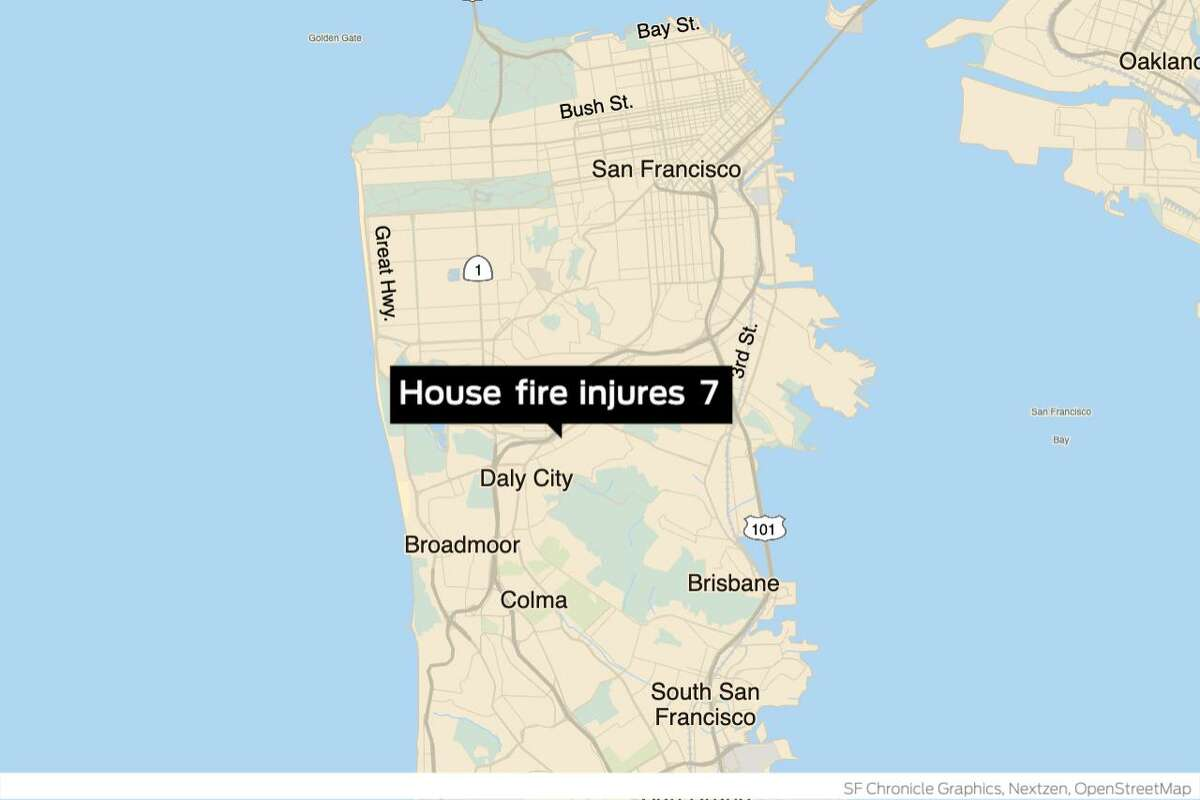 San Francisco firefighters battled a one-alarm house fire Monday afternoon in the Outer Mission neighborhood at 64 Lawrence Ave. that sent seven people to the hospital,fire officials said.