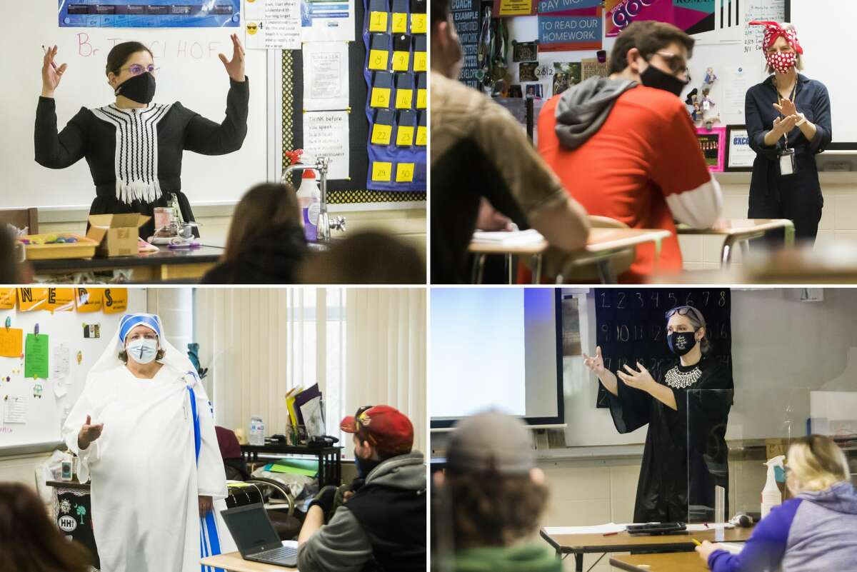 Clockwise from top left, Bullock Creek High School teachers Patty Sawicki, dresses as Marie Curie, Shelly Discher, dressed as Rosie the Riveter, Erin Martin, dresses as Ruth Bader Ginsburg, and Julie Rinn, dressed as Mother Teresa, teach class Monday, March 1, 2021 as staff and students at Bullock Creek celebrate Women's History Month with a scavenger hunt. (Katy Kildee/kkildee@mdn.net)