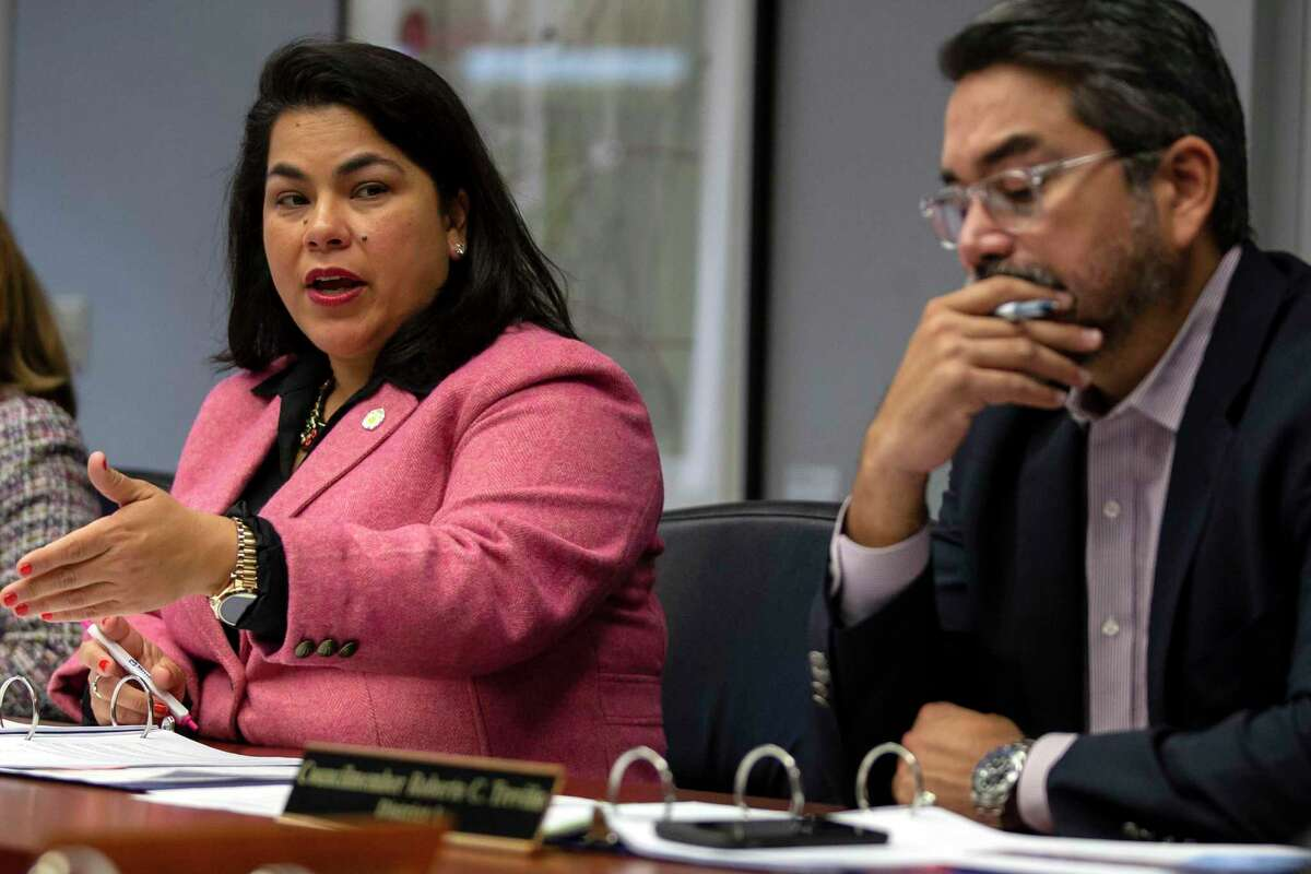 San Antonio City Councilwoman Rebecca Viagran will replace Councilman Roberto Treviño, right, on two key committees that oversee the Alamo and the plaza project. Mayor Ron Nirenberg made the change Monday, March 1, 2021.