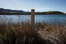 A depth gauge stands partially exposed at Briones Reservoir in Orinda, California Sunday, Feb. 28, 2021.