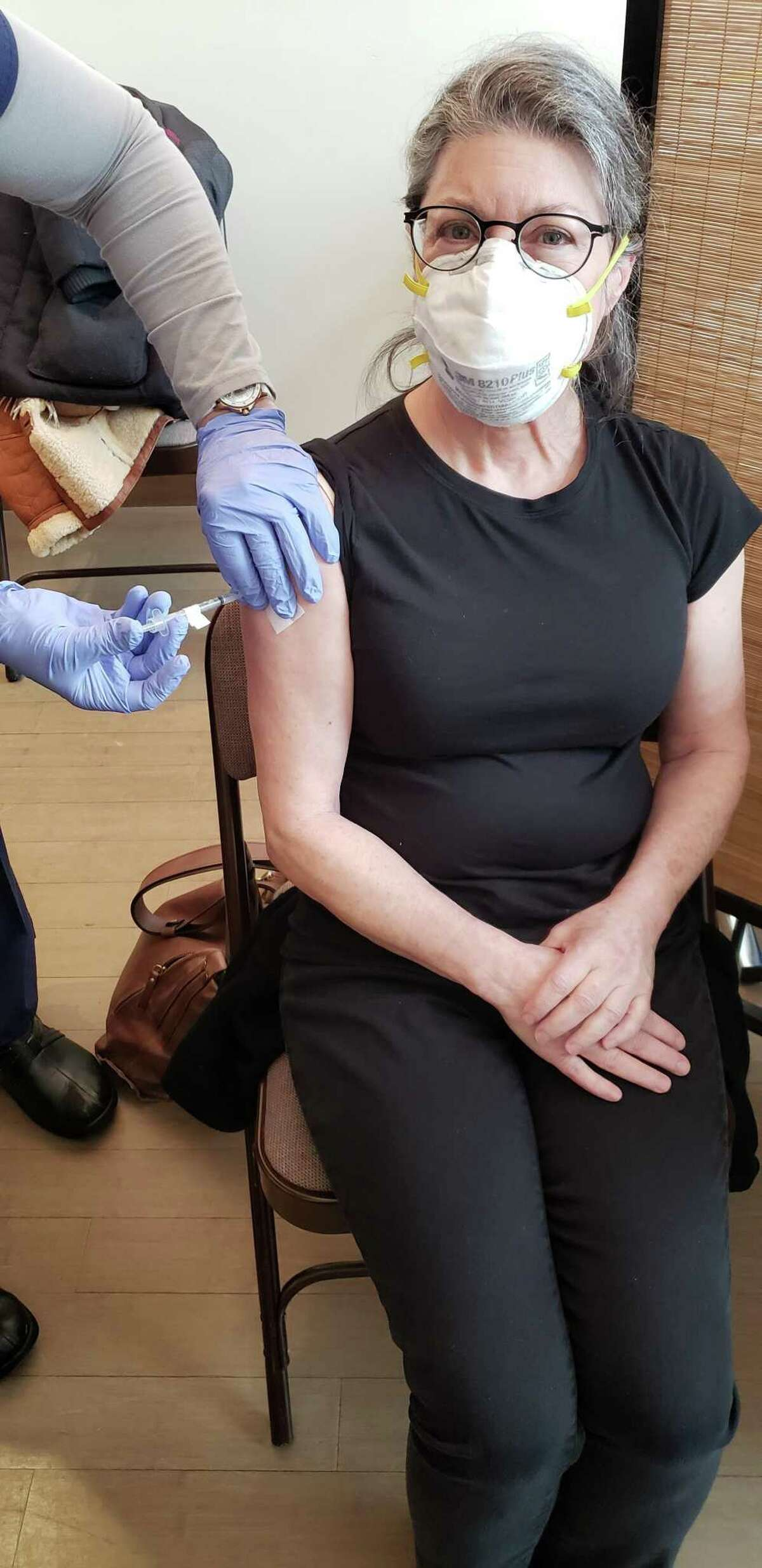 Goshen resident Leya Edison got her first COVID-19 vaccine Monday at a clinic in Kent, and was able to make a second appointment while she was there.