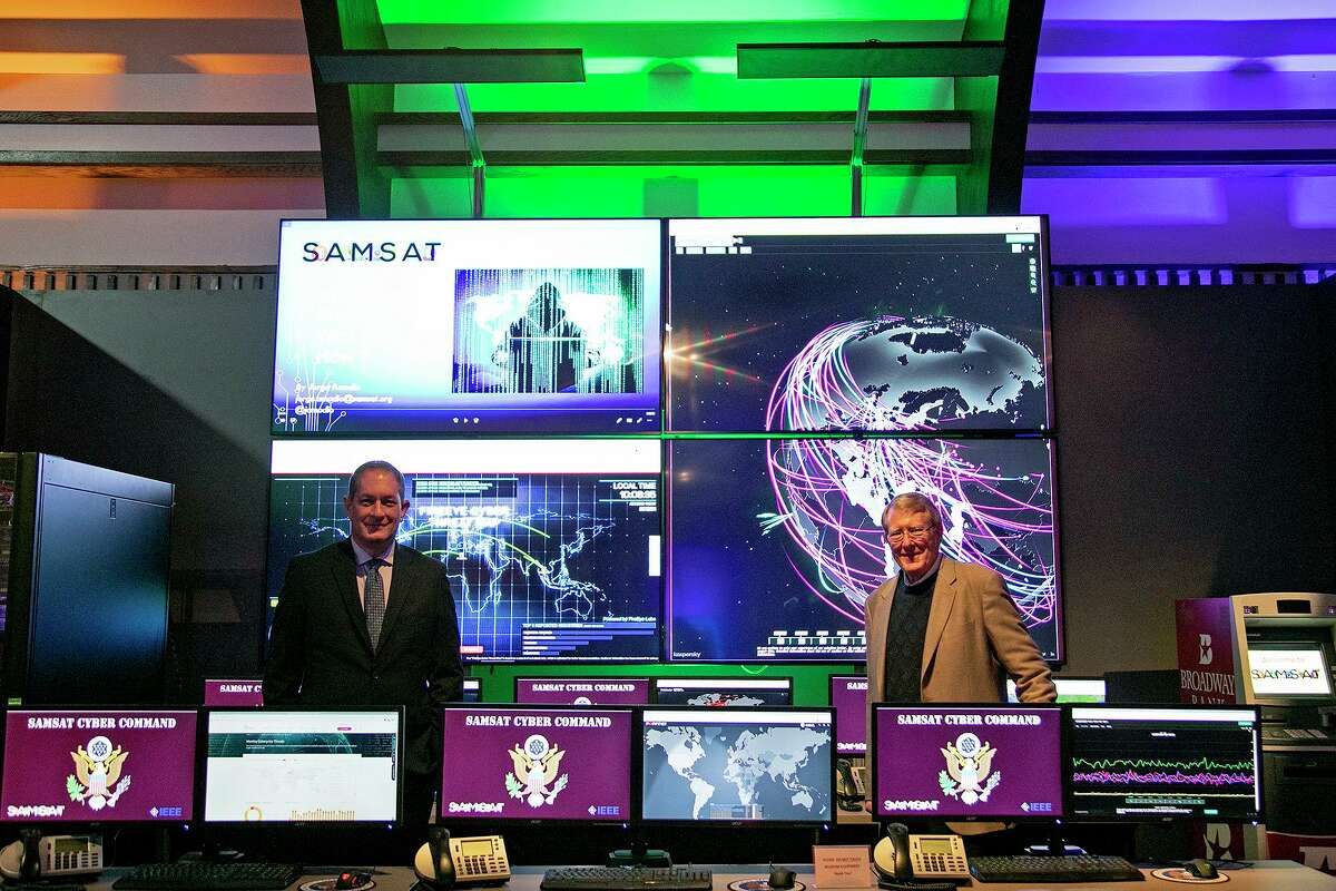 Jim Perschbach, left, President and CEO of Port San Antonio, stands with Doug King, President and CEO of the San Antonio Museum of Science and Technology (SAMSAT), in the SAMSAT Preview Center on Monday, Dec. 23, 2020 on the Port San Antonio campus.