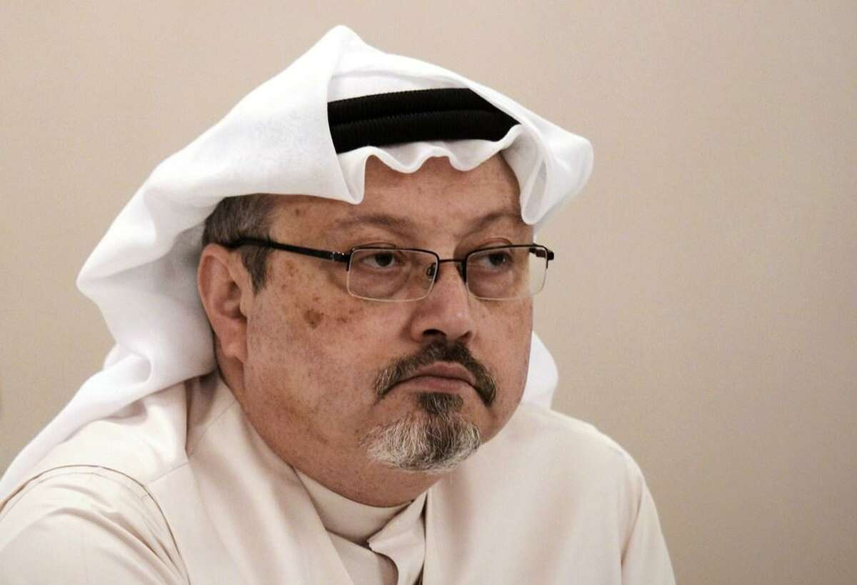 In this file photo taken on December 15, 2014 Saudi journalist Jamal Khashoggi attends a press conference in the Bahraini capital Manama. - Khashoggi went from being a Saudi royal family insider to an outspoken critic of the ultra-conservative kingdom's government.