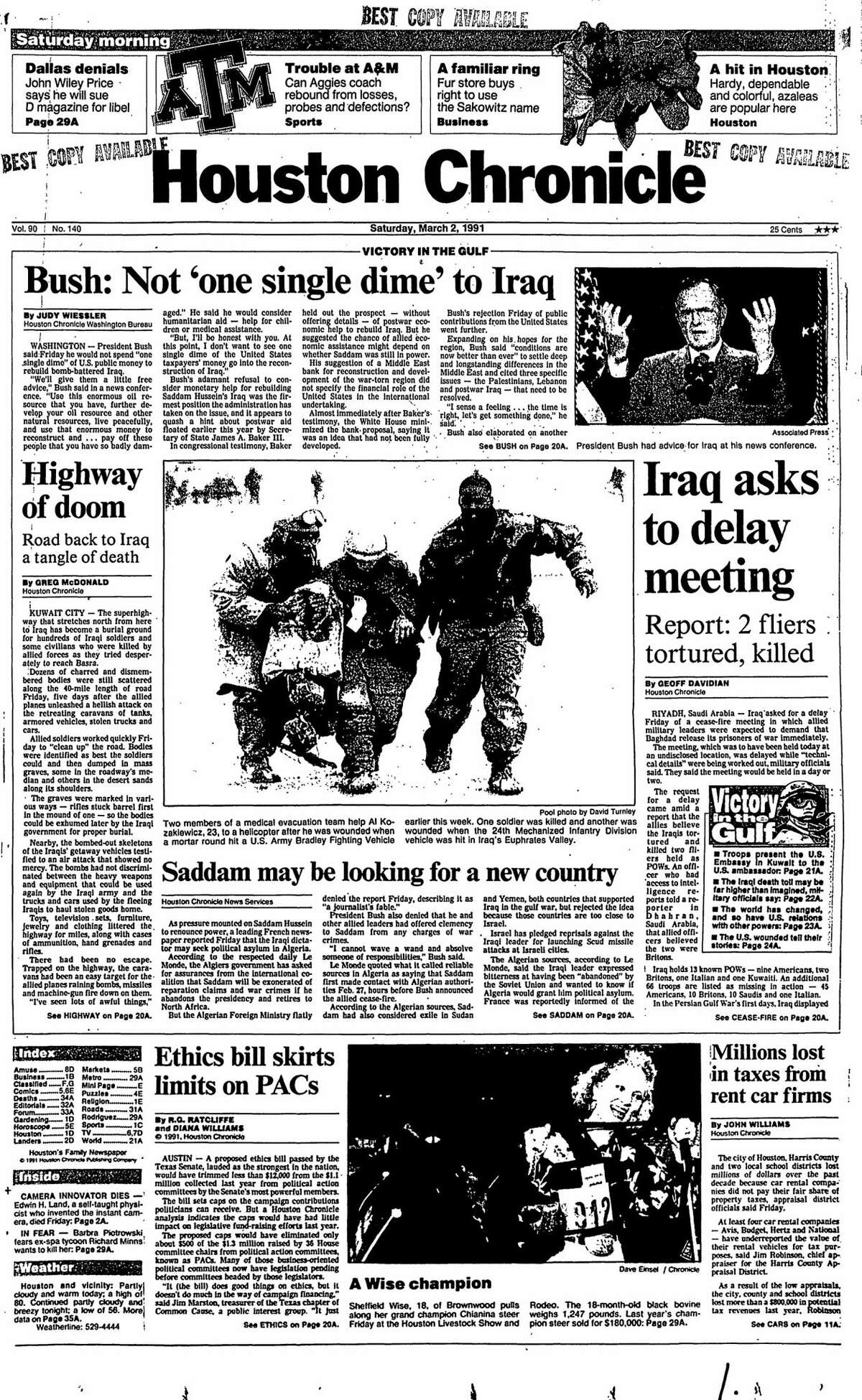 Houston Chronicle front page from March 2, 1991.