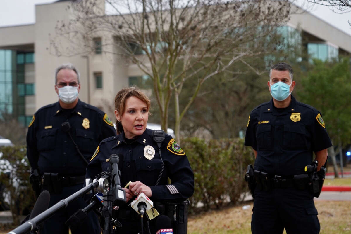 HPD Assistant Chief Baimbridge briefs the media about a shooting inside a medical office building at the HCA Houston Healthcare West Houston Doctors Center on Monday afternoon, March 1, 2021, in Houston.