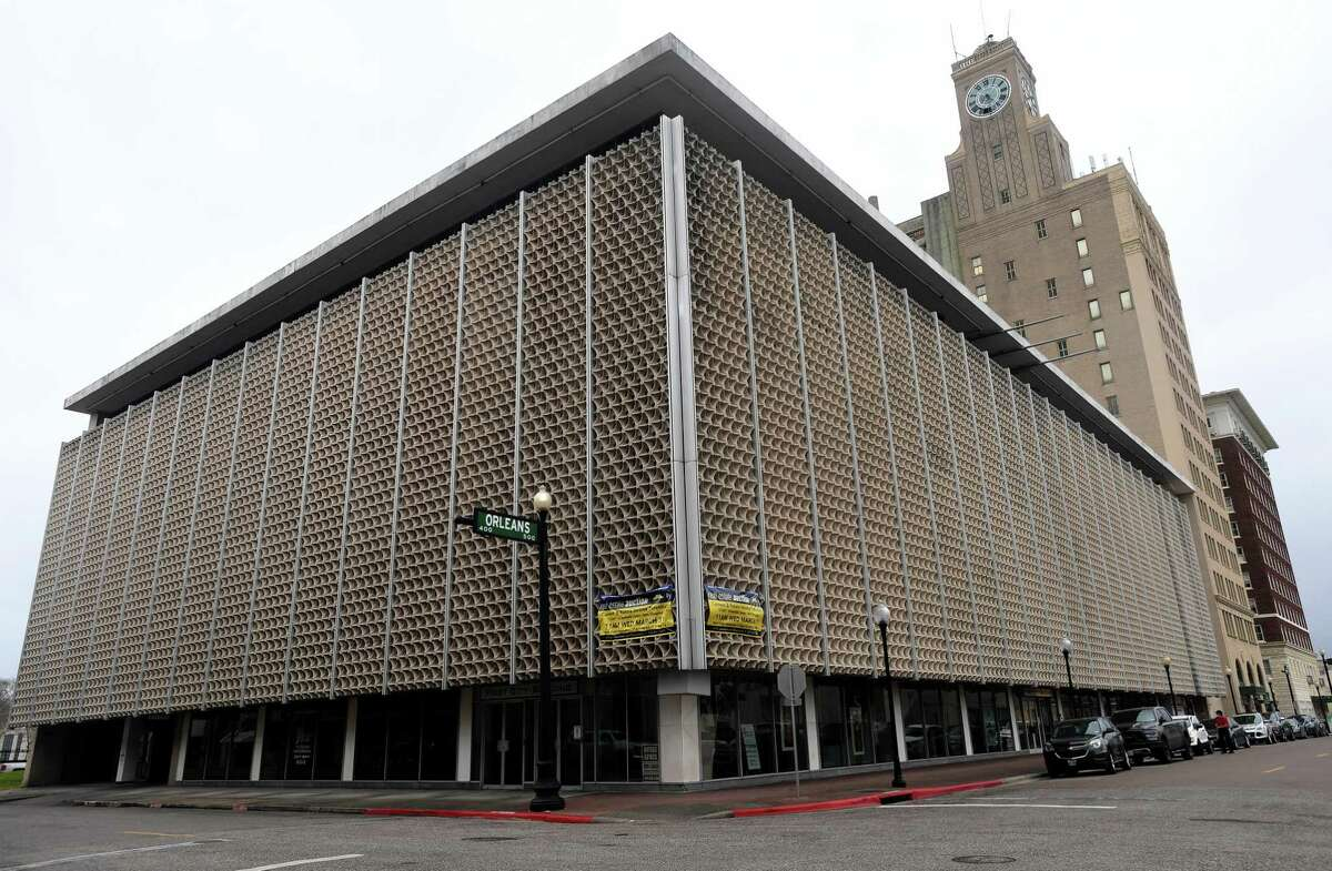 The First City Building, which was designed by local architect L.W. Pitts and built in 1962, is going up for auction. The downtown Beaumont building, which is home to several businesses, has a minnimum bid of $800,000. Photo made Monday, March 1, 2021 Kim Brent/The Enterprise