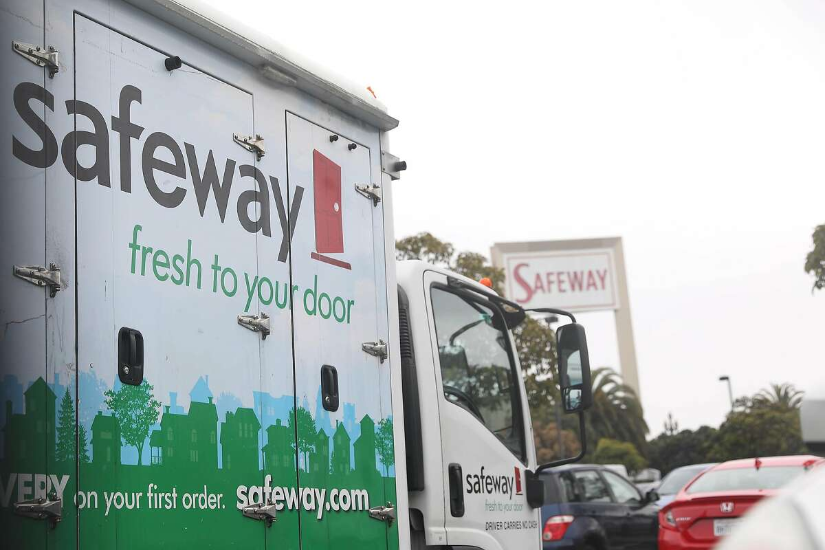 A Safeway.com delivery truck is outside a Safeway on Market Street in San Francisco in January. The company has referred online customers to Instacart.