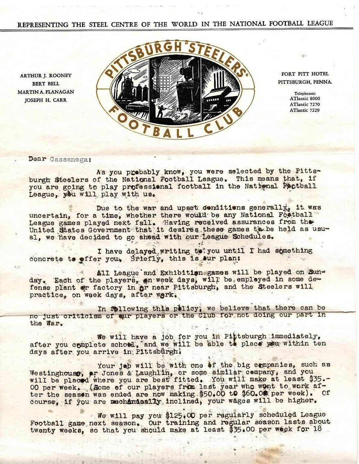 The first page of the letter Ken Casanega received from the Steelers after he was selected in the third round, No. 16 overall, of the 1942 NFL draft.