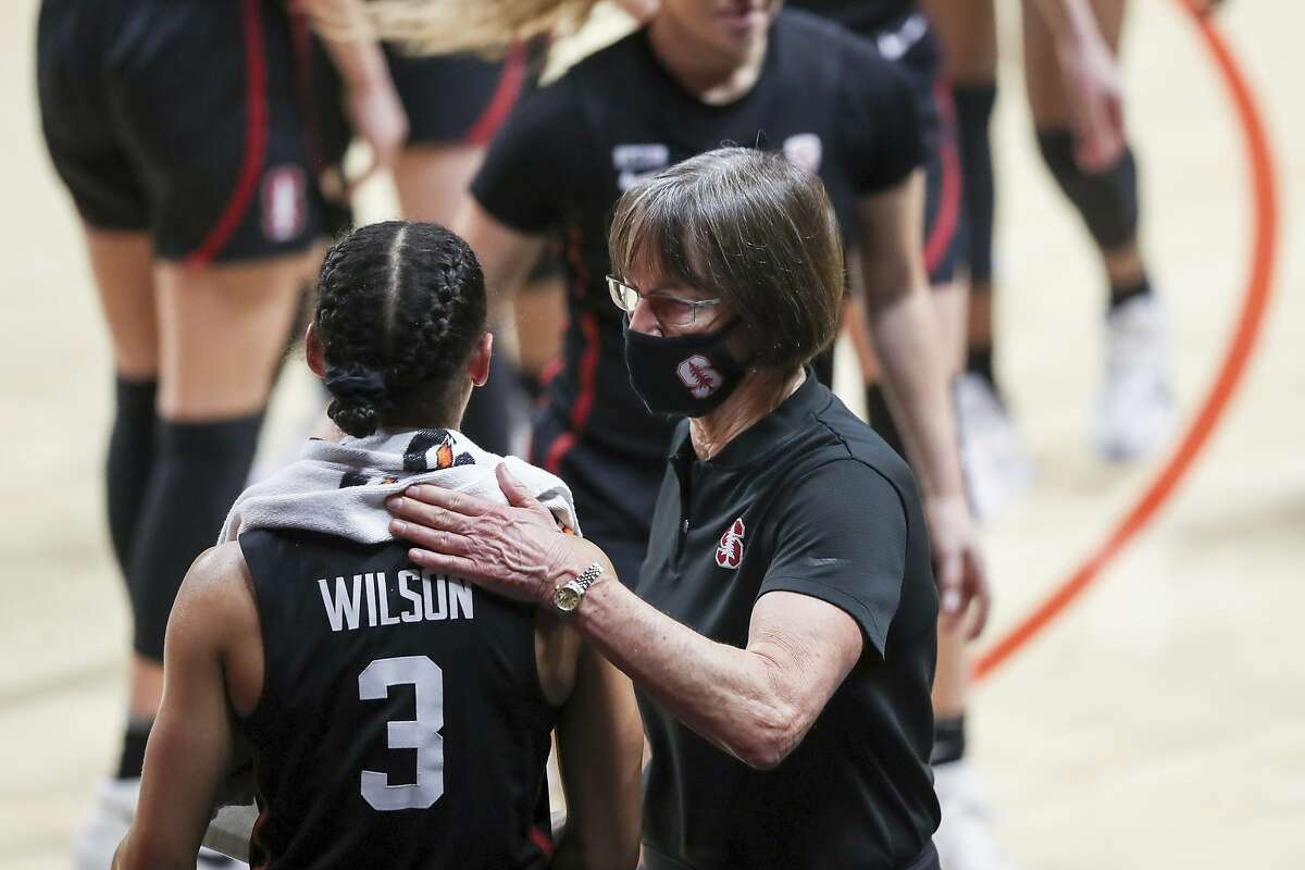 Stanford's head coach Tara Vanderveer and Anna Wilson (3) celebrate Stanford's win over Oregon State following an NCAA college basketball game in Corvallis, Ore., Saturday, Feb. 13, 2021. (AP Photo/Amanda Loman)