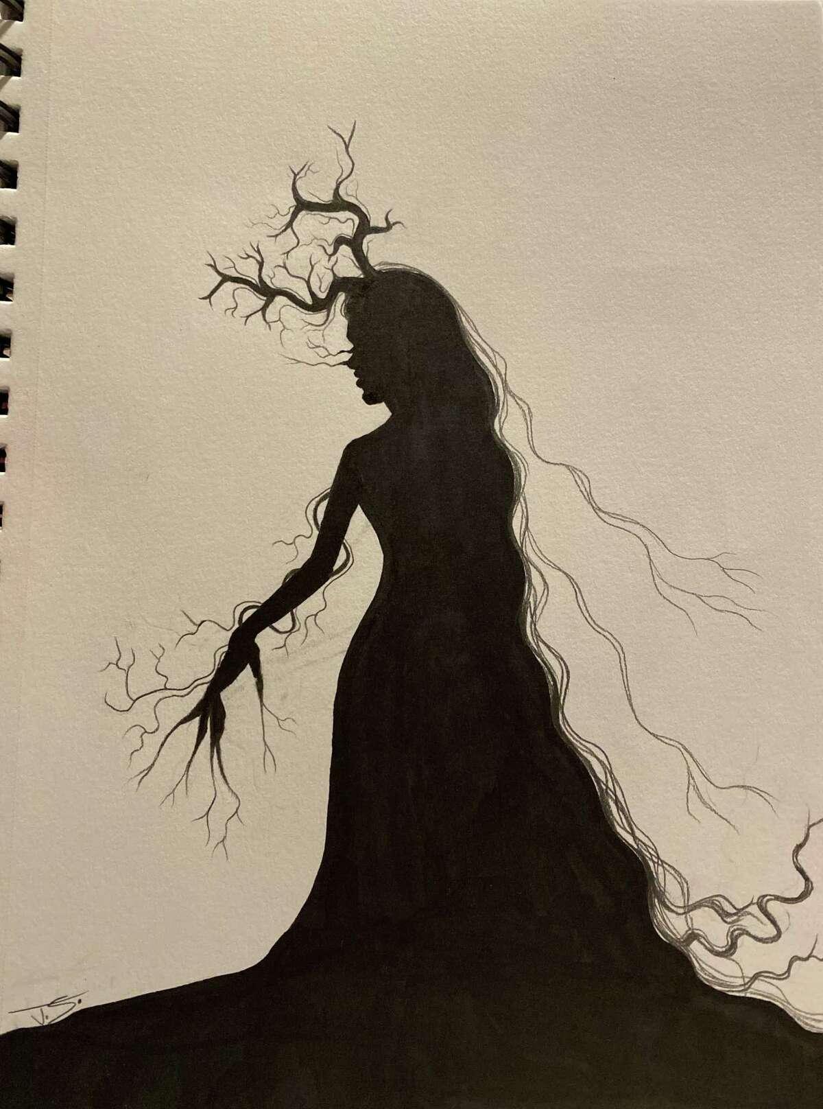Shelton High School freshman Joao Sousa's work, which was inspired by artist Kara Walker.