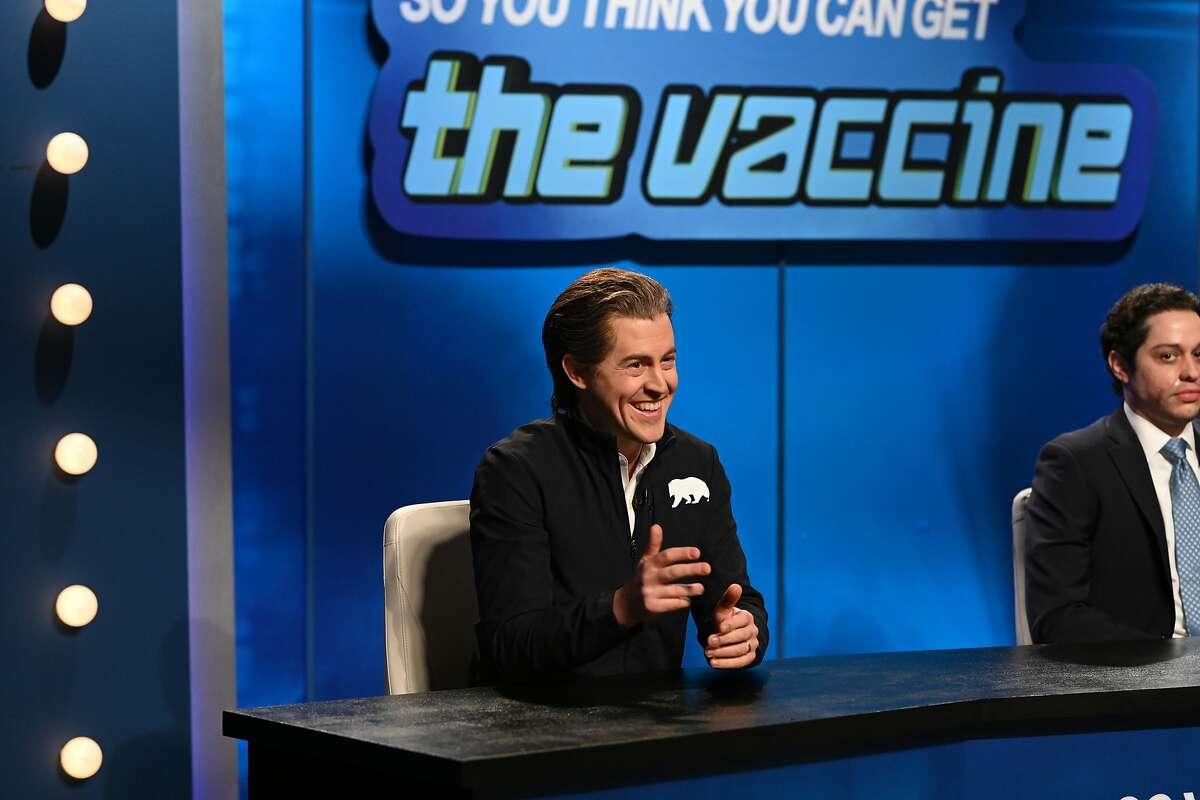 "Alex Moffat as Gov. Gavin Newsom during the ""Vaccine Game Show"" Cold Open on Saturday, February 27, 2021."