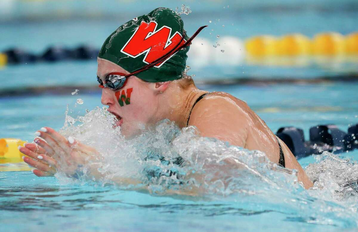 Alyssa Sorensen of The Woodlands competes in the girls 200-yard medley relay during the UIL State Swimming & Diving Championships, Monday, March 1, 2021, in San Antonio.