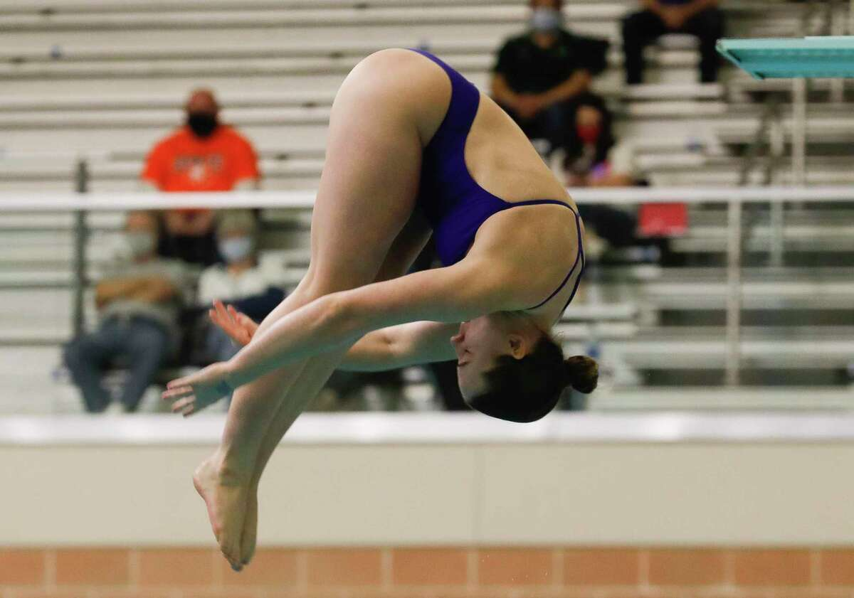 Ryleigh Rodgers of Grand Oaks competes in the girls 1-meter diving during the UIL State Swimming & Diving Championships, Monday, March 1, 2021, in San Antonio.