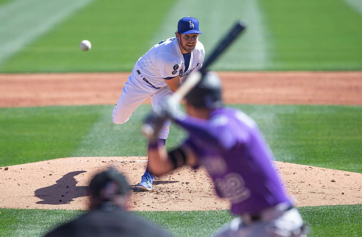 Starting pitcher Trevor Bauer, who won the NL Cy Young Award with the Reds last year, made his first Dodgers appearance since signing a $102 million, three-year contract in the offseason.