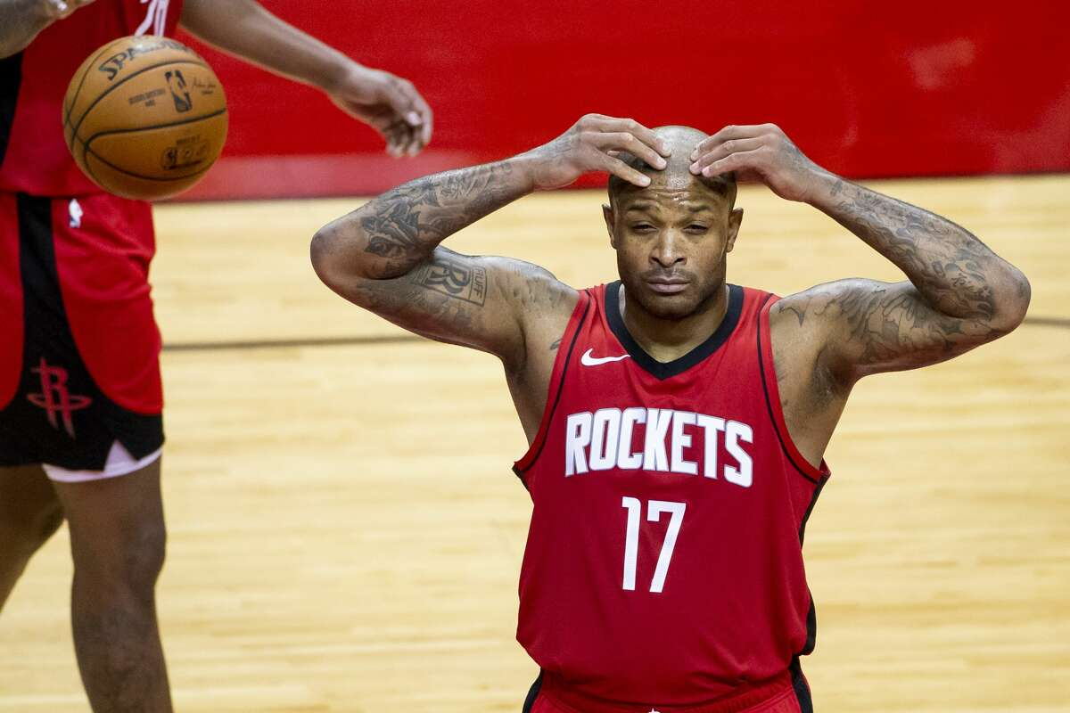 Houston Rockets forward P.J. Tucker (17) reacts to a foul call during the second quarter of an NBA basketball game between the Houston Rockets and Cleveland Cavaliers on Monday, March 1, 2021, at Toyota Center in Houston.