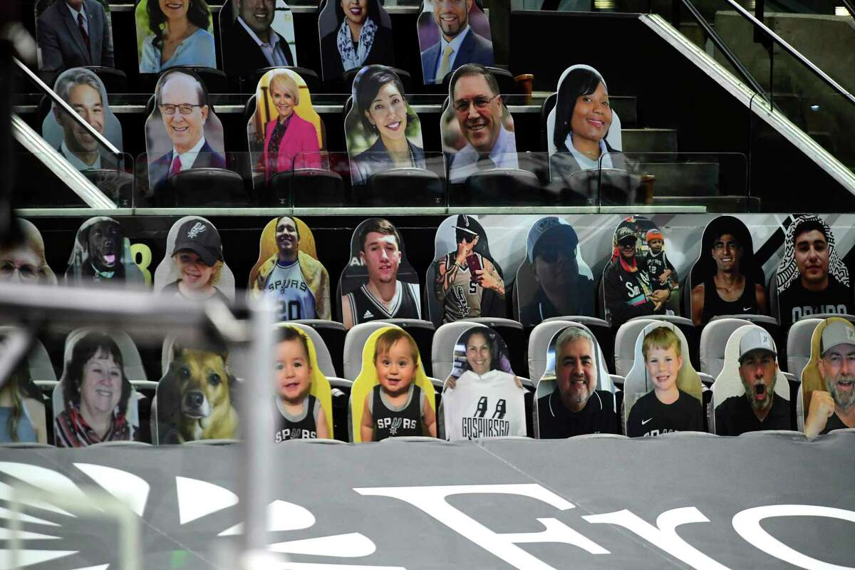Cardboard cutout fans are ready for the Brooklyn Nets and San Antonio Spurs to take to the court at the AT&T Center before the game on Monday, March 1, 2021.
