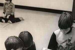 Carpenter third grade teacher Ellen Flegenheimer's students, from left, Steven Knox, Fred Walters and Jason Tisdale, study basic geometric shapes with a geoboard. February 1977
