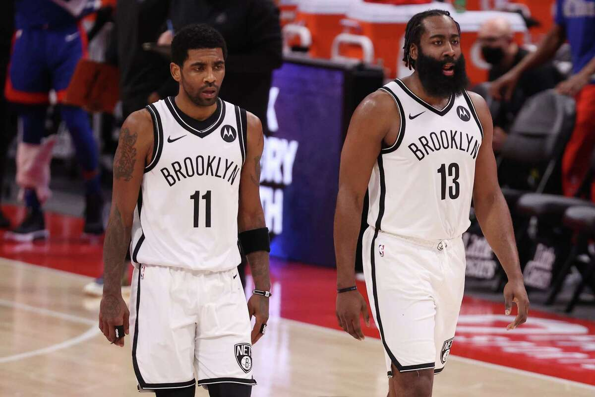 James Harden and Kyrie Irving (11), two of the Nets' new Big Three, will try to extend the Rockets' misery Wednesday night at Toyota Center in Harden's first game against his former team.
