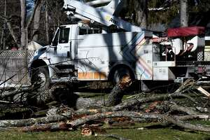 National Grid crews respond to downed lines at Adams Street near Hawthorn Avenue after high winds caused damage throughout the Capital Region on Tuesday morning, March 2, 2021, in Delmar, N.Y. (Will Waldron/Times Union)
