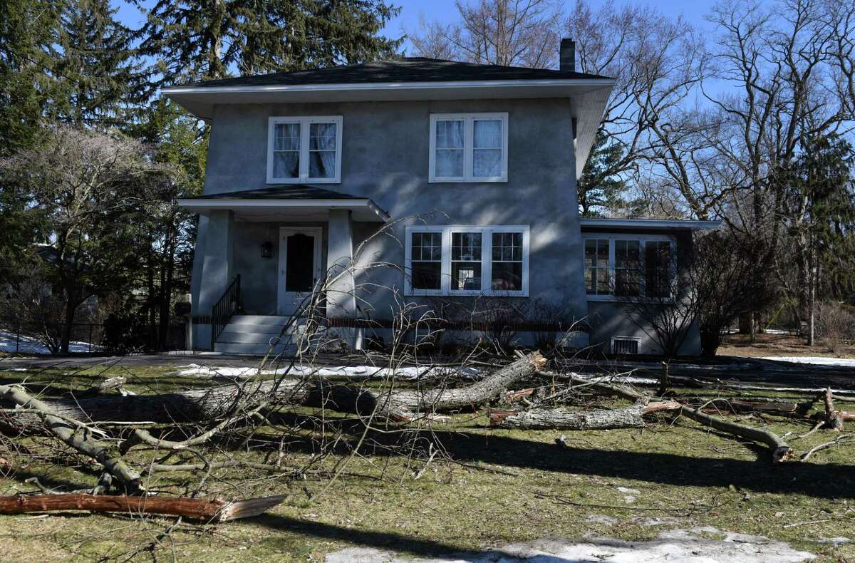 Tree limbs are scattered across an Adams Street front lawn after high winds caused damage throughout the Capital Region on Tuesday morning, March 2, 2021, in Delmar, N.Y. (Will Waldron/Times Union)