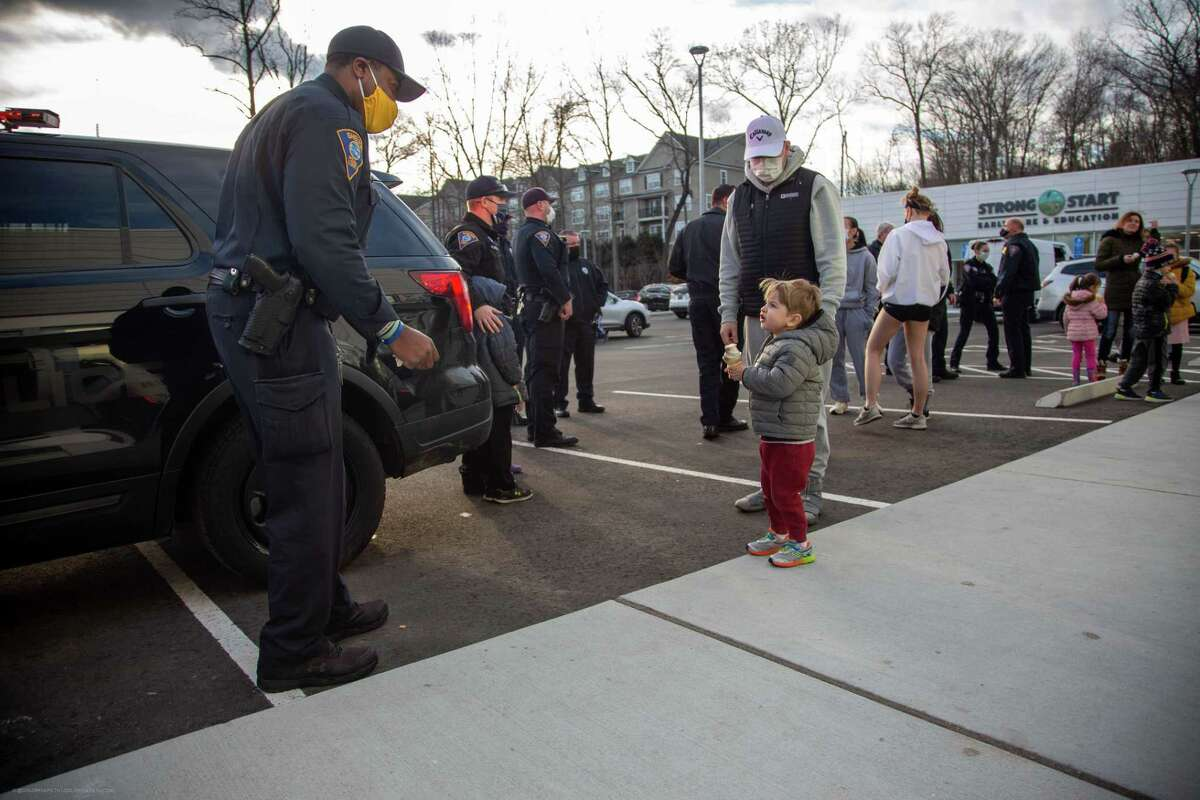 Local children got up close and personal with Shelton Police March 1 at the Cops and Cones event at Sugar Rush Liquid Nitrogen Ice Cream Shoppe, 901 Bridgeport Ave.