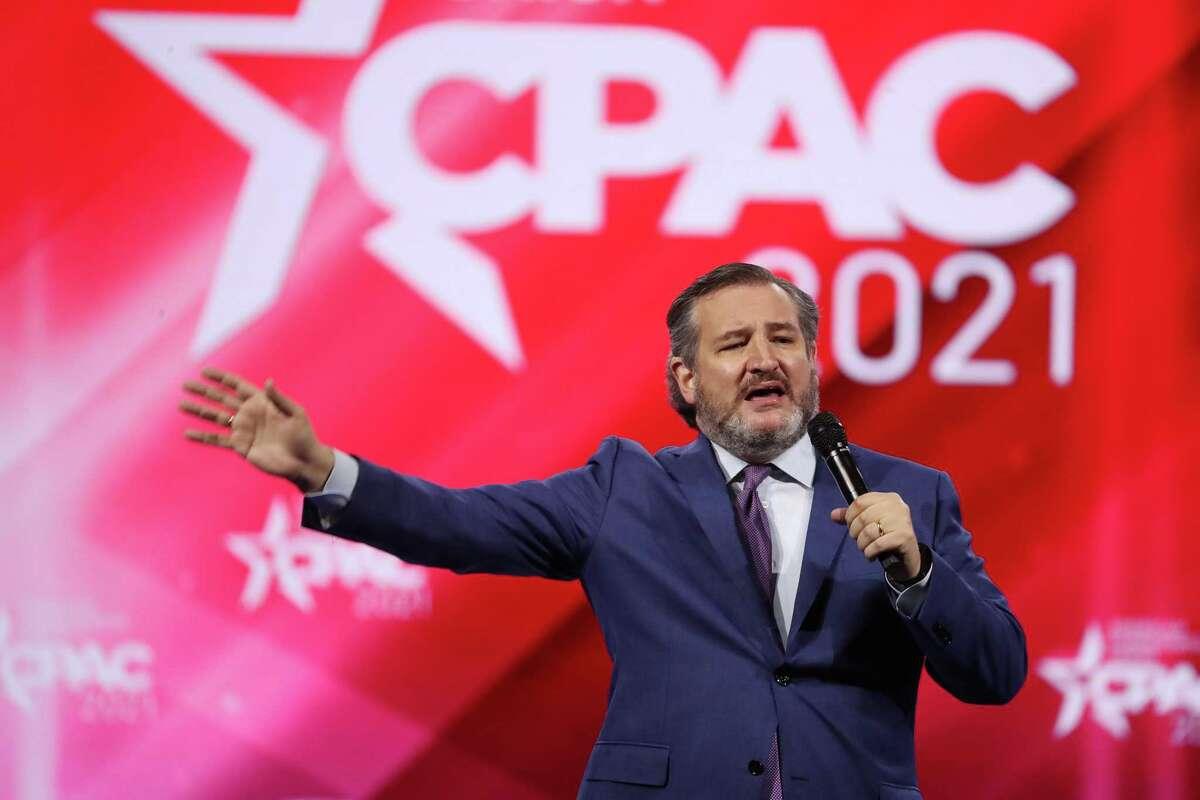 U.S. Sen Ted Cruz (R-Texas) speaks to a cheering crowd at CPAC at the Hyatt Regency in Orlando on Friday, February 26, 2021. (Stephen M. Dowell/Orlando Sentinel/TNS)
